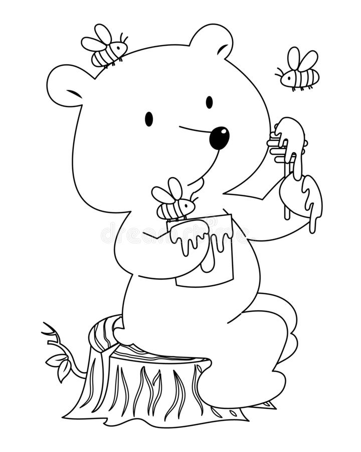Honey Bear with Bees Colorless. A cute little bear with honey and bees vector illustration cartoon. A bear sitting on stub eating honey. Lovely teddy bear stock illustration