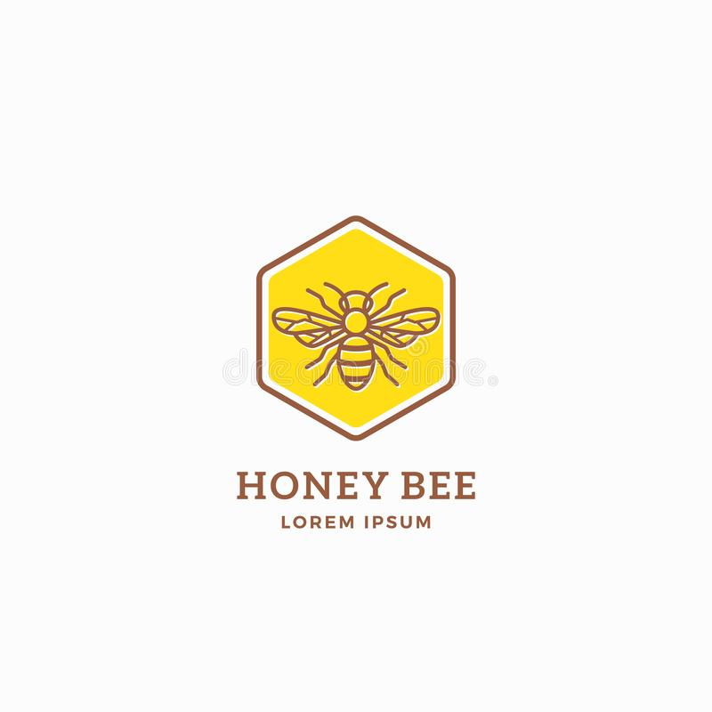 Honey Bee Abstract Vector Sign, símbolo o Logo Template Línea abeja Sillhouette del estilo con tipografía retra creativo libre illustration