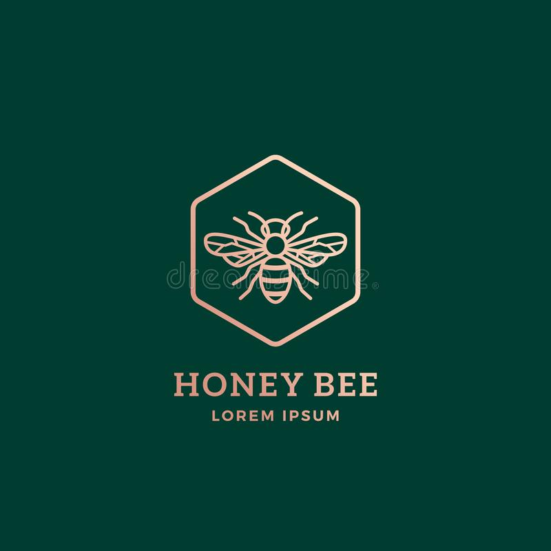 Honey Bee Abstract Vector Sign superior, símbolo o Logo Template Abeja de oro Sillhouette con tipografía retra creativo libre illustration