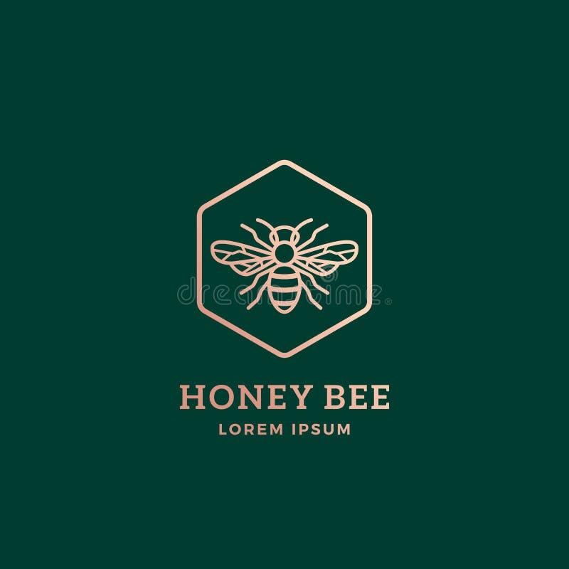 Honey Bee Abstract Vetora Sign superior, símbolo ou Logo Template Abelha dourada Sillhouette com tipografia retro creativo ilustração royalty free