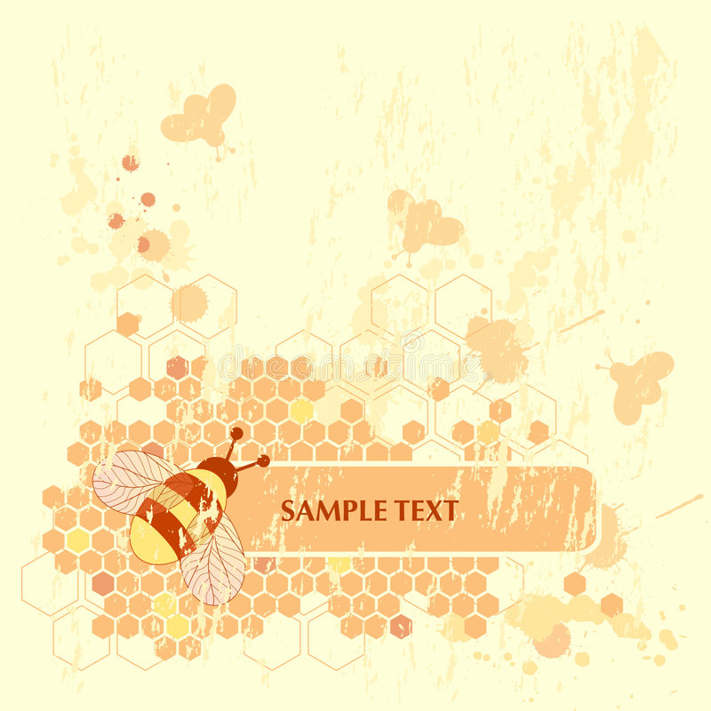 Honey Bee Banner. Grunge Honey Bee Banner Background