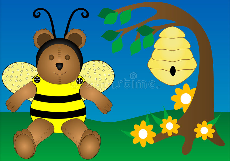 Download Honey Bee Bear stock illustration. Image of fiction, cute - 2205045