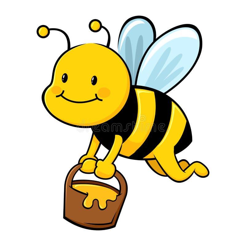 Honey Bee Collecting Honey dans le seau en bois illustration stock