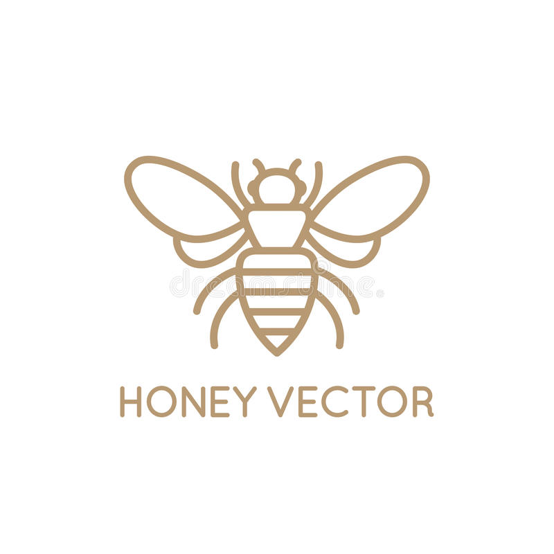 Honey bee concept. Vector logo design template in trendy minimal linear style - honey bee concept - emblem for food packaging stock illustration