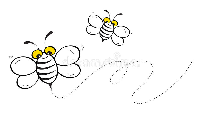 Honey Bee Flying. Illustration of happy honey bee flying isolated on white background vector illustration