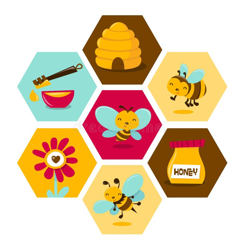 Honey Bee Honeycomb Hexagon mignon illustration stock