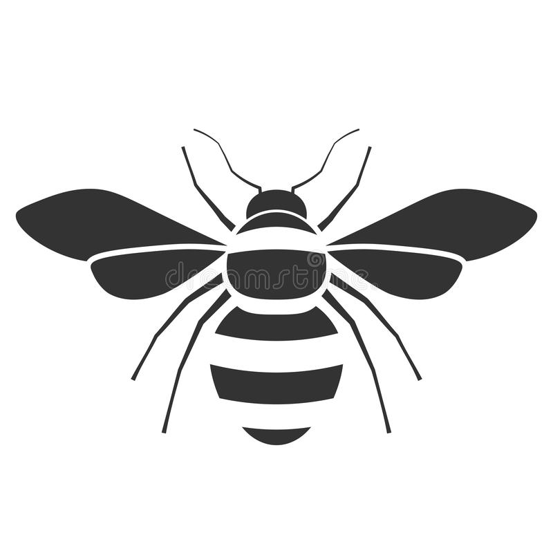 Honey bee icon. Pest control clipart isolated on white background royalty free illustration