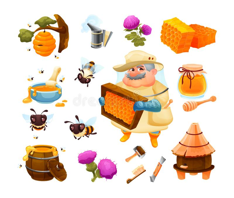 Honey bee icon set with honeycomb with hive. Beekeeping farm set vector illustration