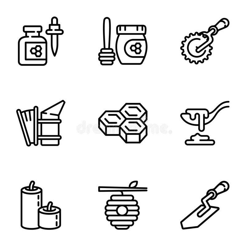Honey bee icon set, outline style vector illustration