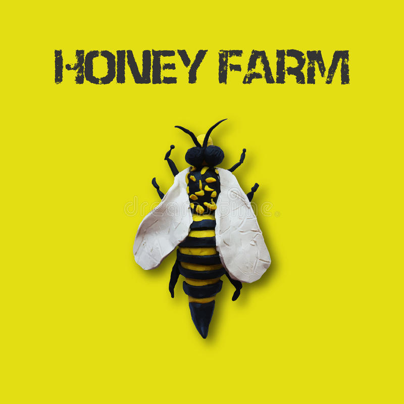 Honey bee. Label for your design. Use for honey farms sites or logos design vector illustration