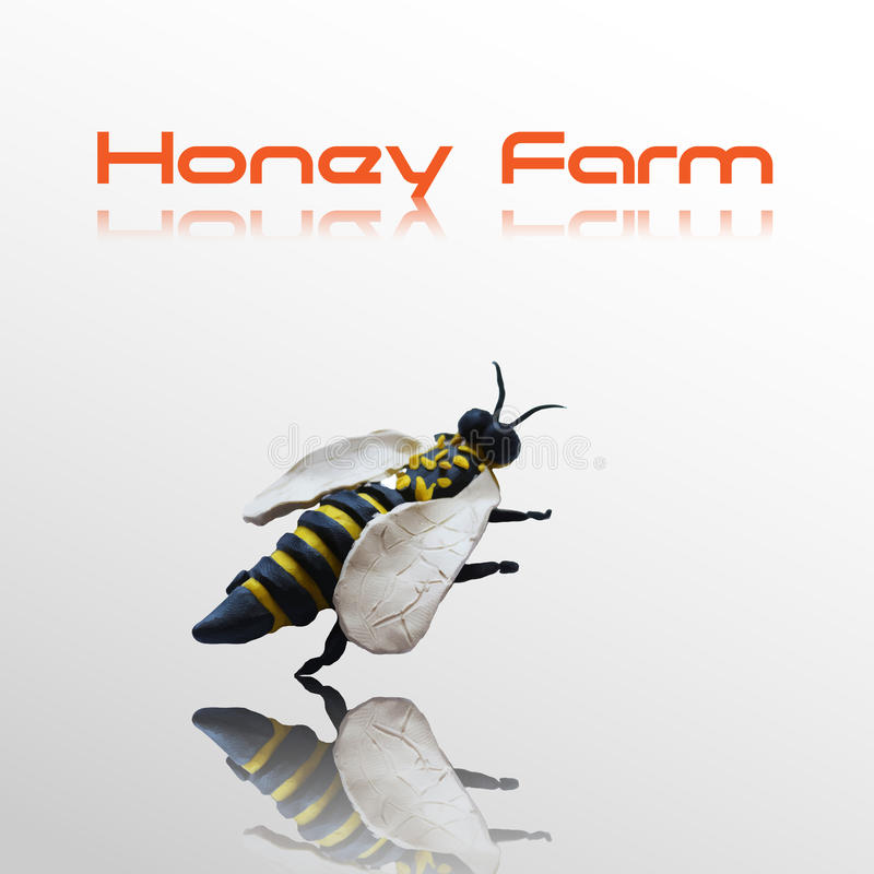 Honey bee. Label for your design. Use for honey farms sites or logos design royalty free illustration