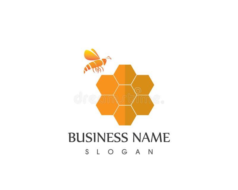 Honey And Bee Logo Design mall stock illustrationer