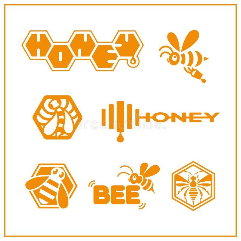 Honey bee logos royalty free illustration