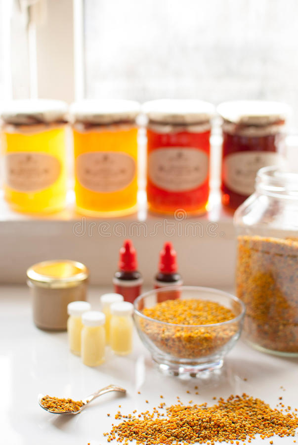 Honey bee products royalty free stock image