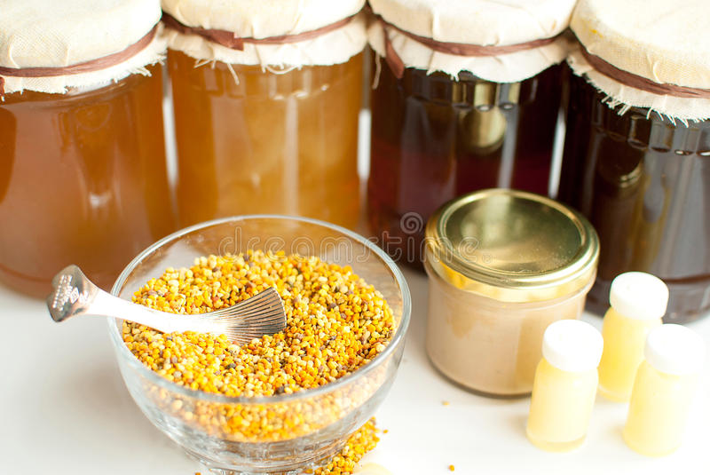 Honey bee products. Variety of raw organic honey bee products stock images