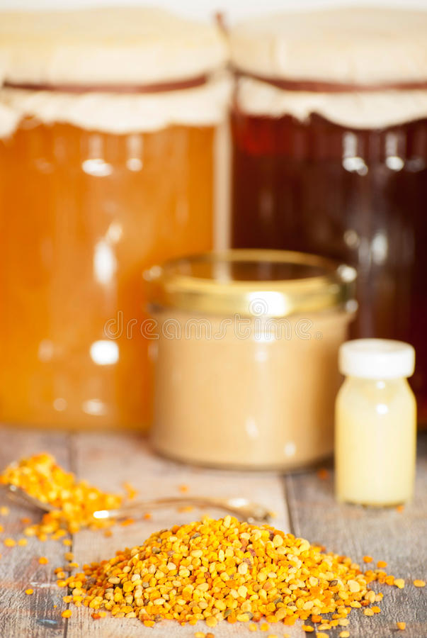 Honey bee products royalty free stock photography