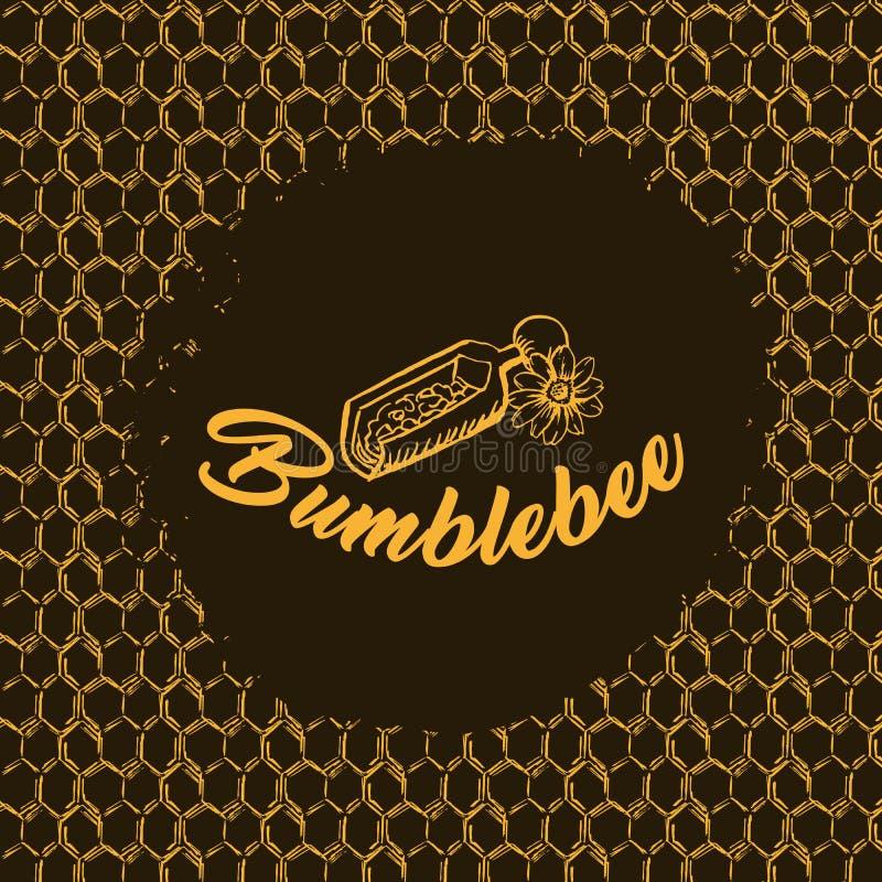 Honey Bee, schizzo Logo Design con il modello del favo Illustrazione isolata disegnata a mano d'annata illustrazione di stock