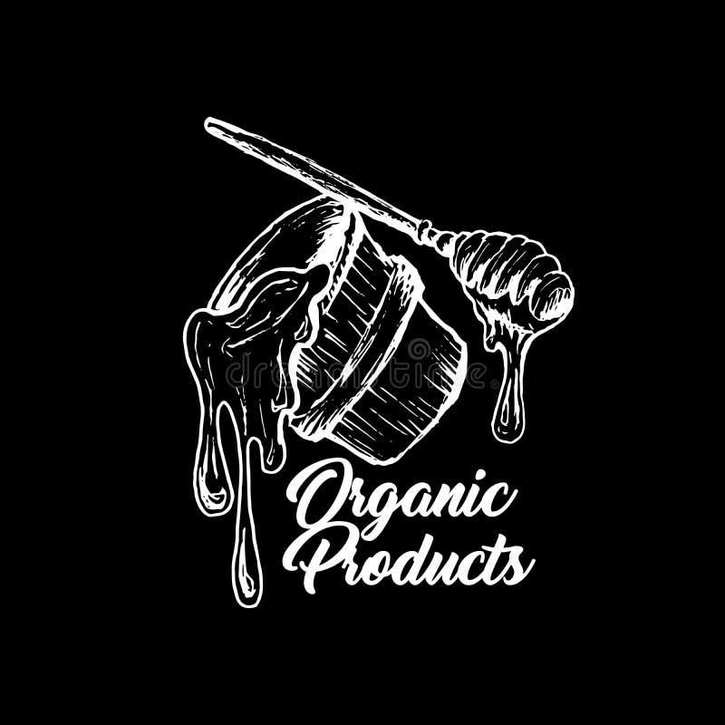 Honey Bee, schizzo Logo Design della lavagna con il modello del favo Illustrazione isolata disegnata a mano d'annata illustrazione vettoriale