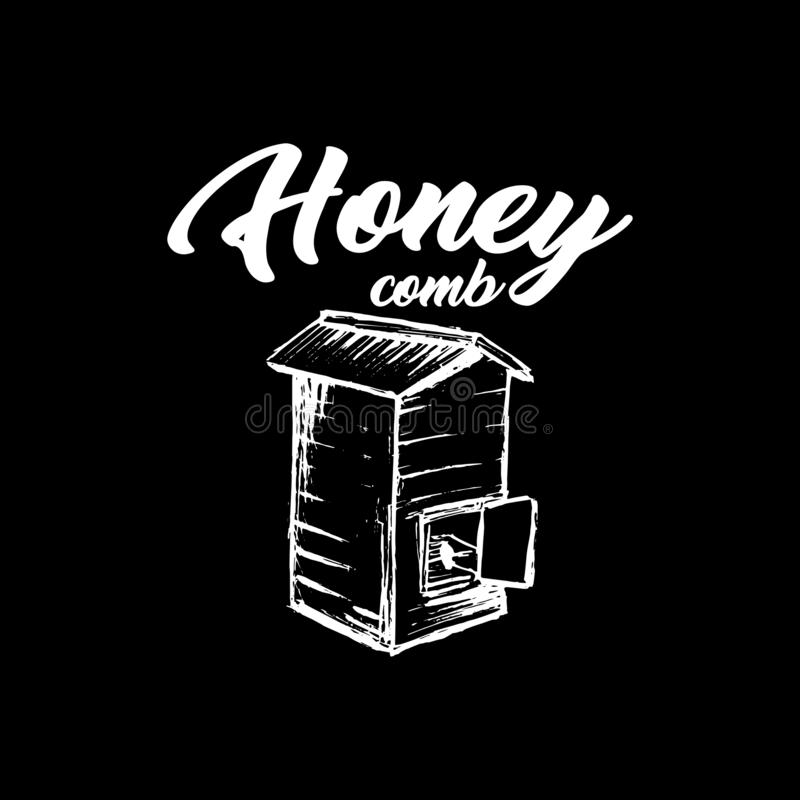 Honey Bee, schizzo Logo Design della lavagna con il modello del favo Illustrazione isolata disegnata a mano d'annata royalty illustrazione gratis