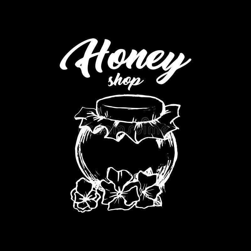 Honey Bee, schizzo Logo Design della lavagna con il modello del favo Illustrazione isolata disegnata a mano d'annata illustrazione di stock