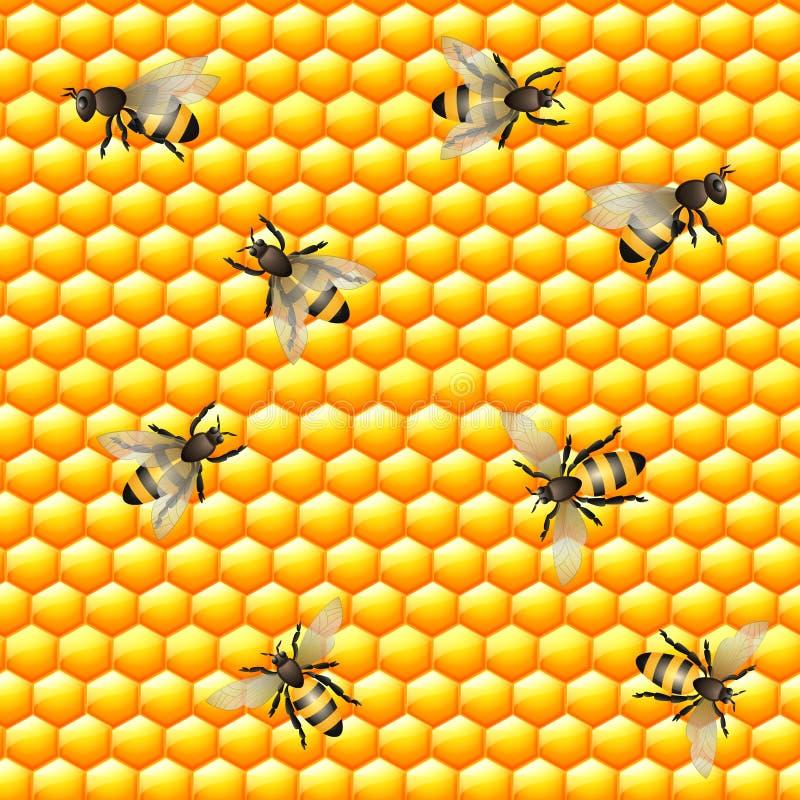 Honey Bee Seamless Pattern stock illustratie