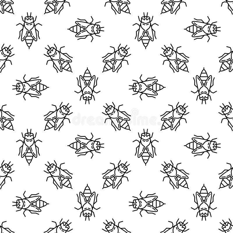 Honey bee line seamless pattern. Vector background stock illustration
