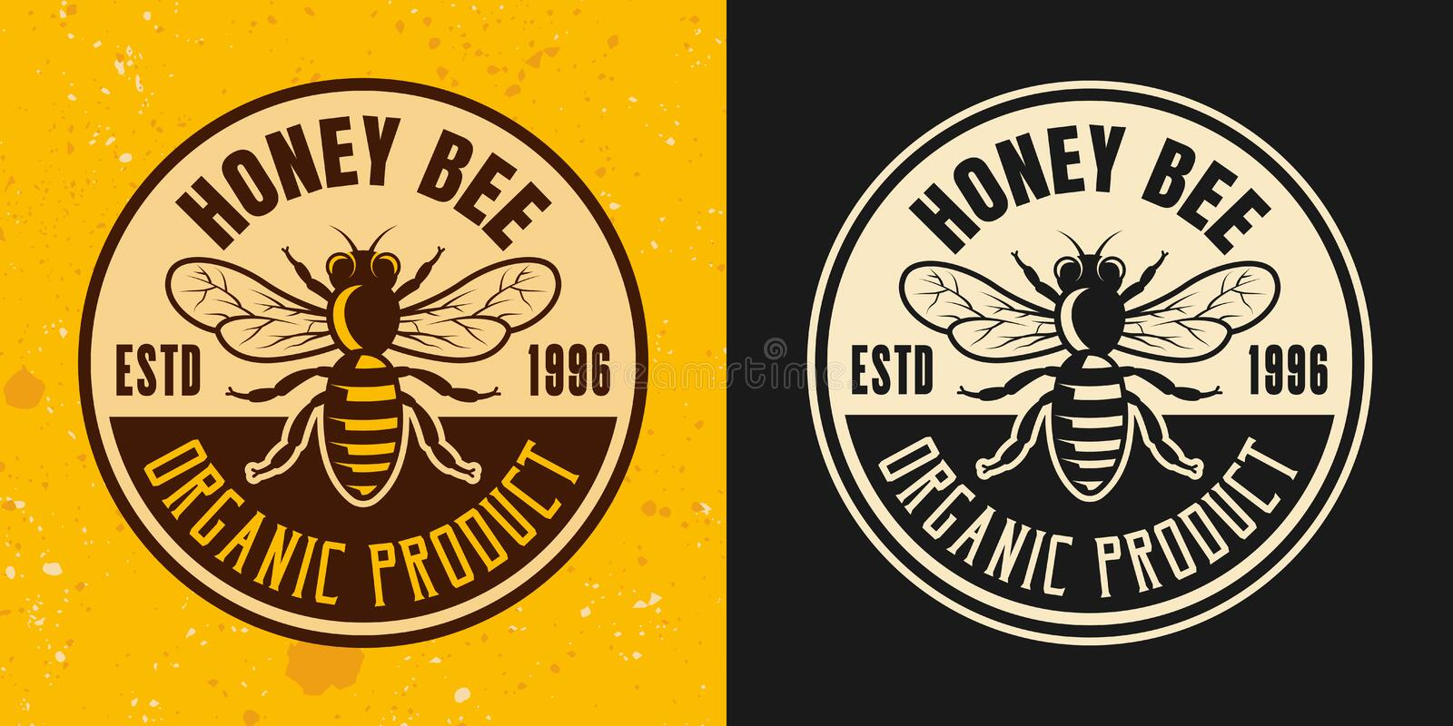 Honey bee set of two colored styles vector emblem stock illustration