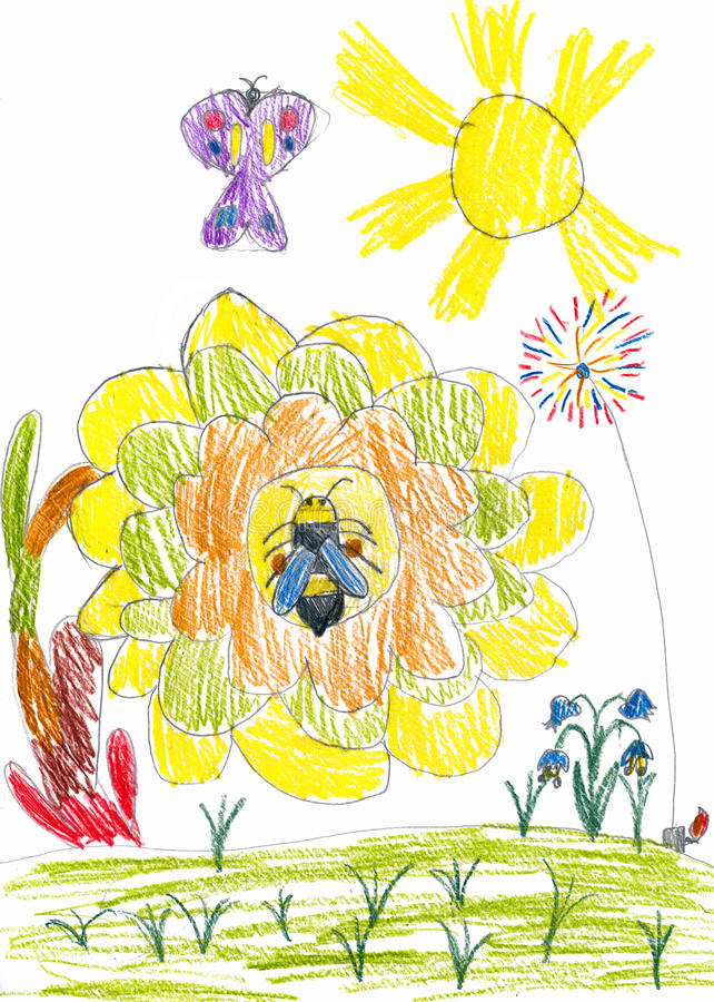 Honey bee on sunflower and butterfly. child drawing. Honey bee on sunflower and butterfly. childs drawing stock image