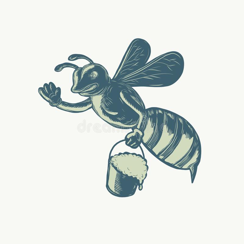 Honey Bee Waving With Pail of Honey Scratchboard. Scratchboard style illustration of a honey bee waving carrying a pail of dripping honey done on scraperboard on royalty free illustration