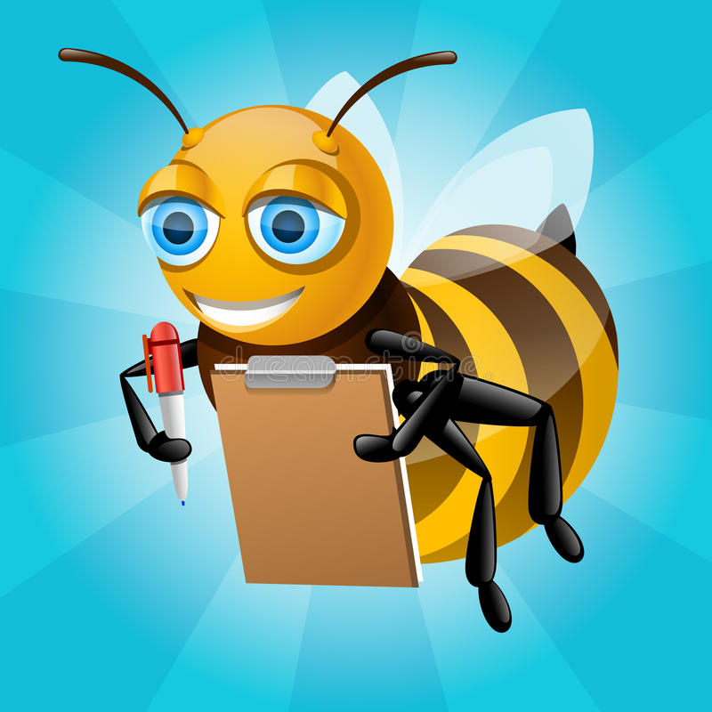 Download Honey bee writes on paper stock illustration. Illustration of yellow - 32286502