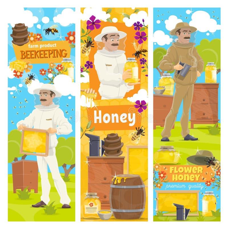 Honey from beekeeping farm, beekeeper vector illustration