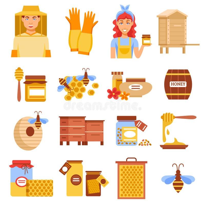 Honey Beekeeping Icon Set vector illustration