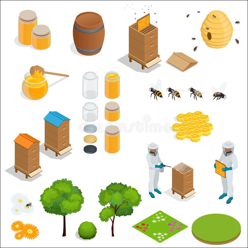 Honey and beekeeping isometric design elements. Apiary, honey, beekeeper, hives, bees, equipment, flowers. For eco stock illustration