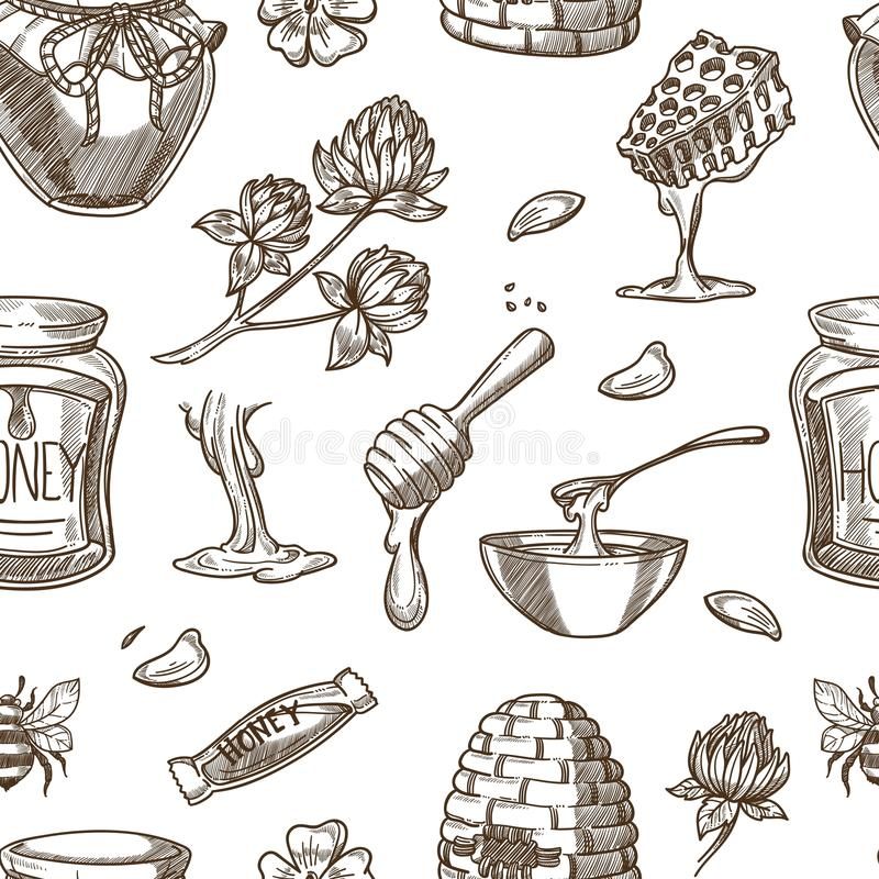 Honey beekeeping vector sketch pattern background royalty free illustration