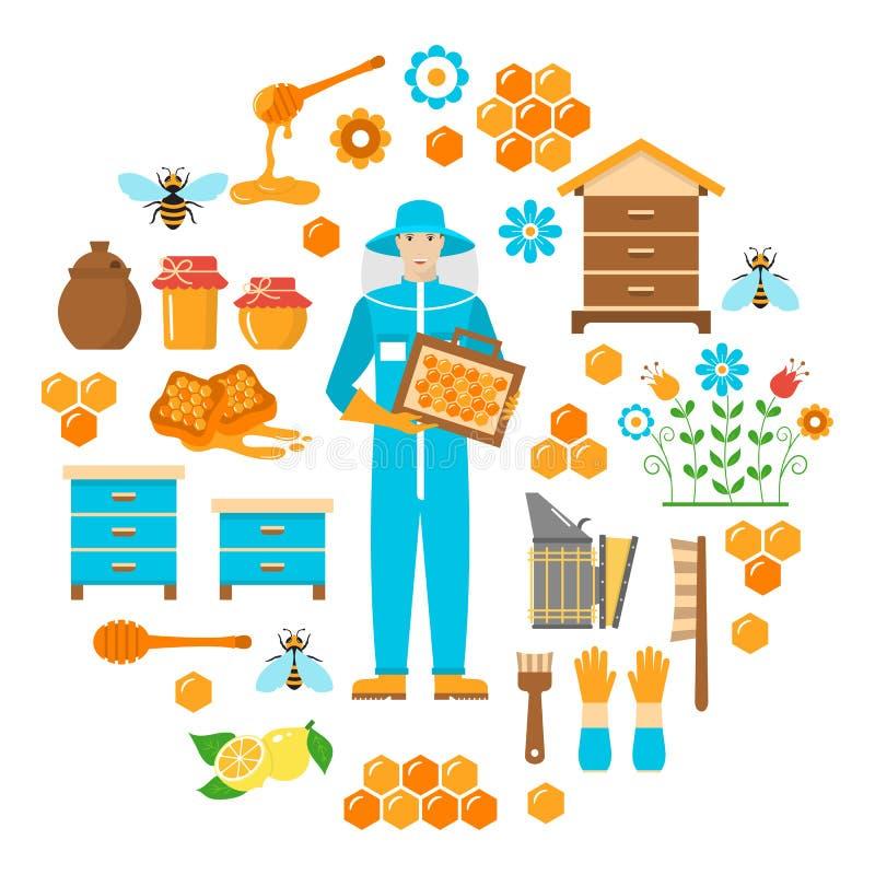 Honey beekeeping vector flat icons set royalty free illustration