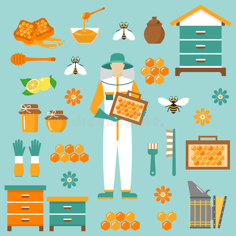Honey beekeeping vector flat icons set stock illustration
