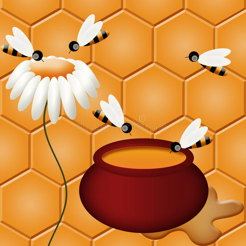 Download Honey and bees stock illustration. Illustration of drop - 18182478