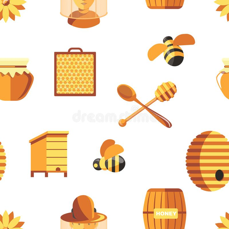 Honey and bees, beekeeper wearing protective suit seamless pattern isolated on white vector. stock illustration