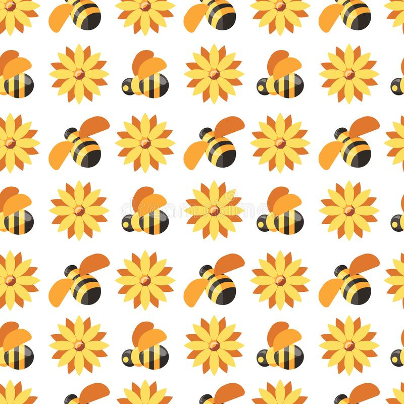Honey and bees, beekeeper wearing protective suit seamless pattern isolated on white vector. royalty free illustration