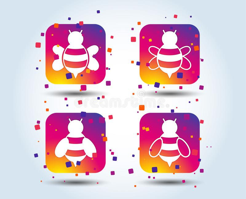 Honey bees icons. Bumblebees symbols. Flying insects with sting signs. Colour gradient square buttons. Flat design concept. Vector vector illustration