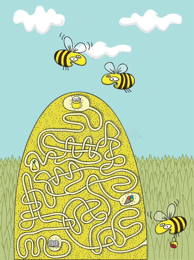 Honey Bees Maze Game stock illustration