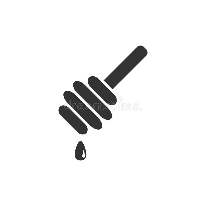 Honey icon flat. Honey. Black Icon Flat on white background stock illustration