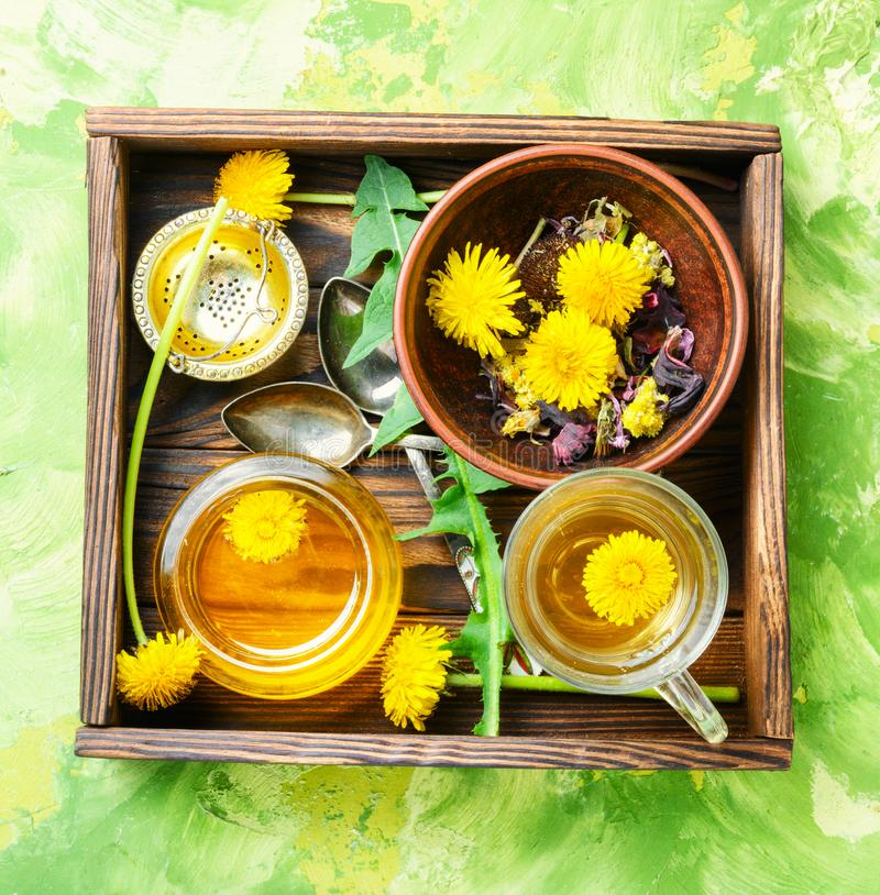 Honey from dandelion and tea. Honey from a blooming spring dandelion and cup of tea stock image