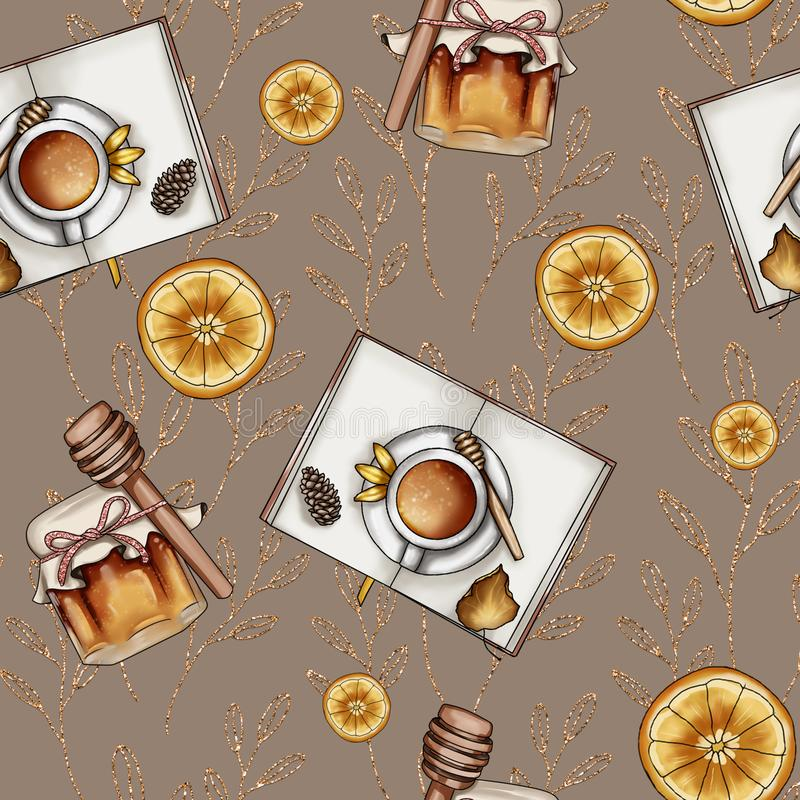 Honey and books on light brown background and glittery decor swirls seamless pattern. Honey and books background and glittery decor swirls seamless pattern vector illustration