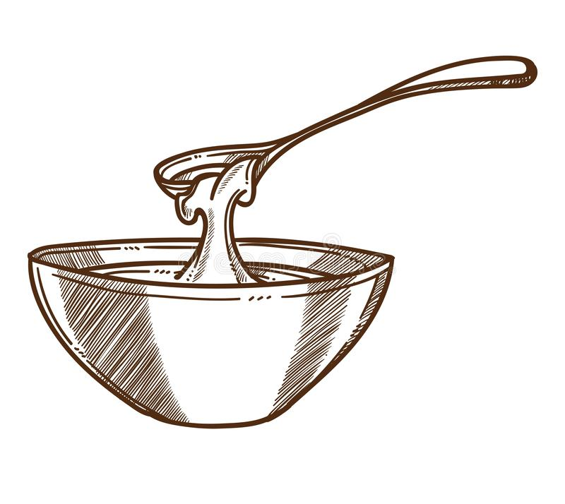 Honey in bowl with spoon isolated sketch, beekeeping and organic food stock illustration