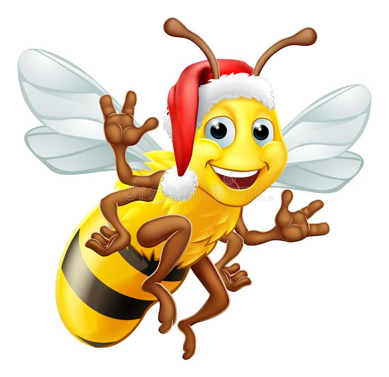 Honey Bumble Bee en Santa Christmas Hat Cartoon ilustración del vector