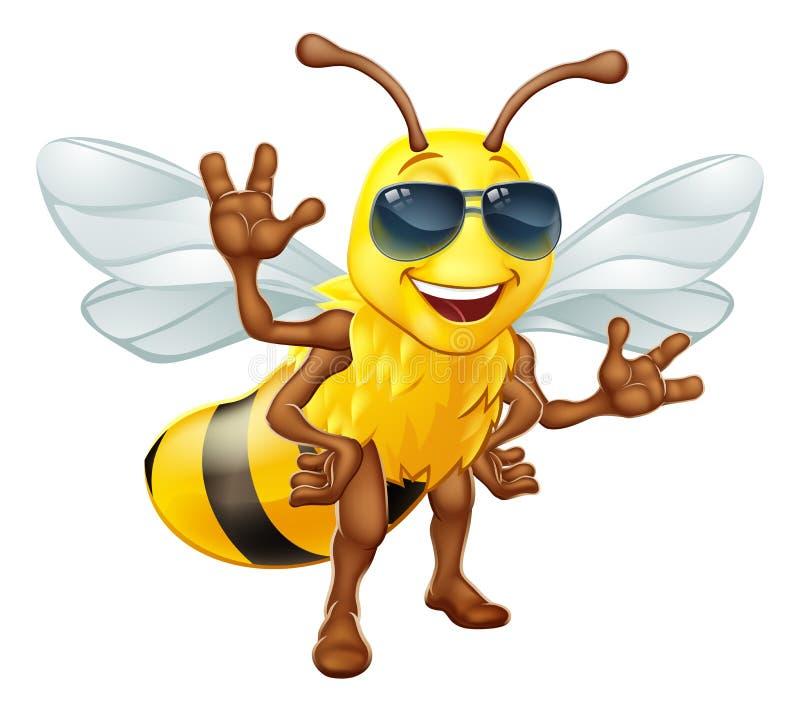 Honey Bumble Bee fresco em desenhos animados dos óculos de sol ilustração do vetor