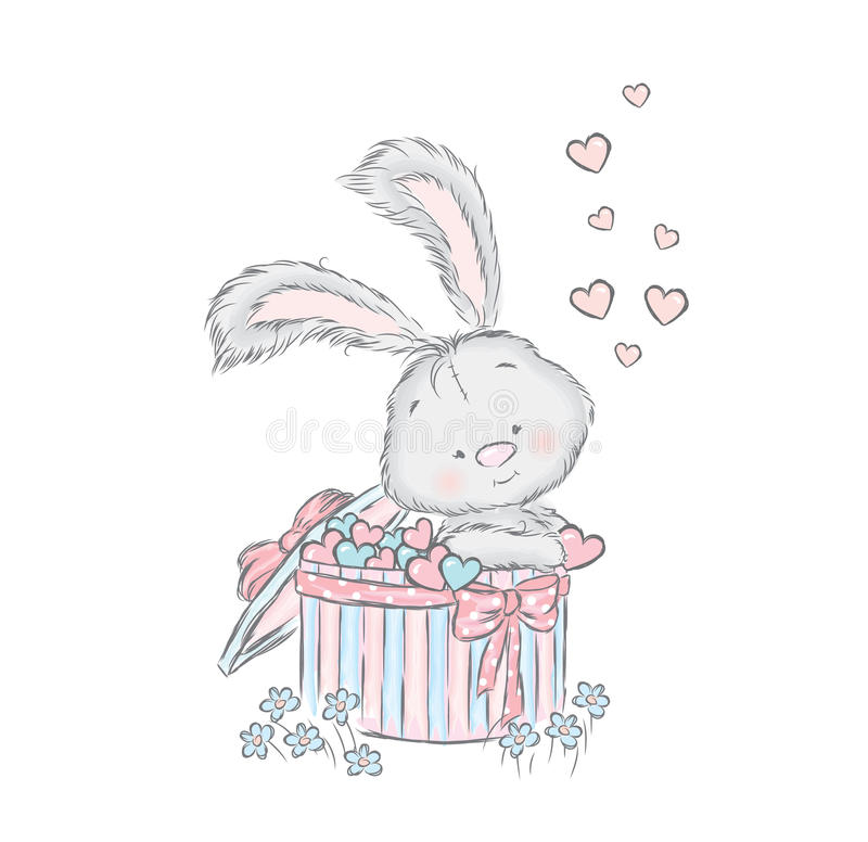 Honey Bunny i en gåvaask Gullig hare i vektorn stock illustrationer