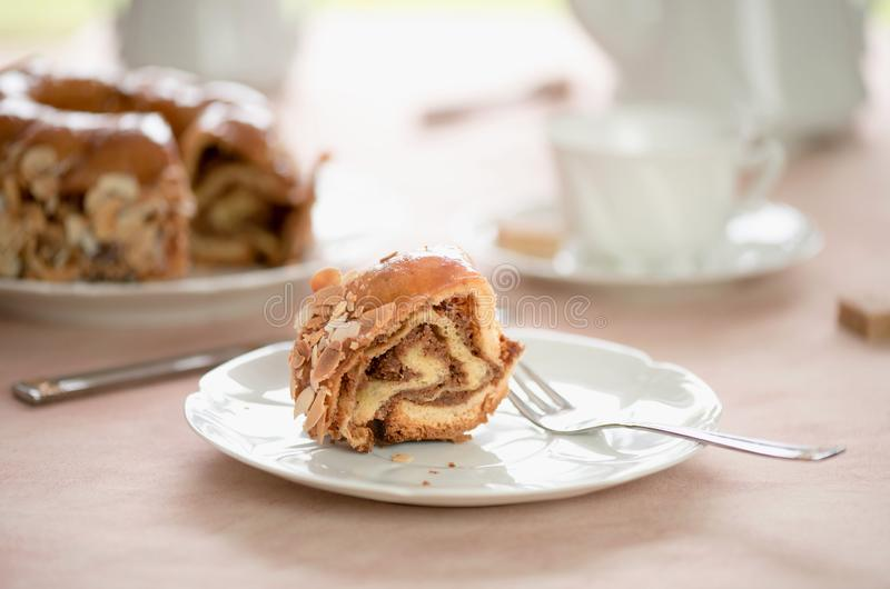 Honey cake with almonds. A piece of cake with almonds. stock image