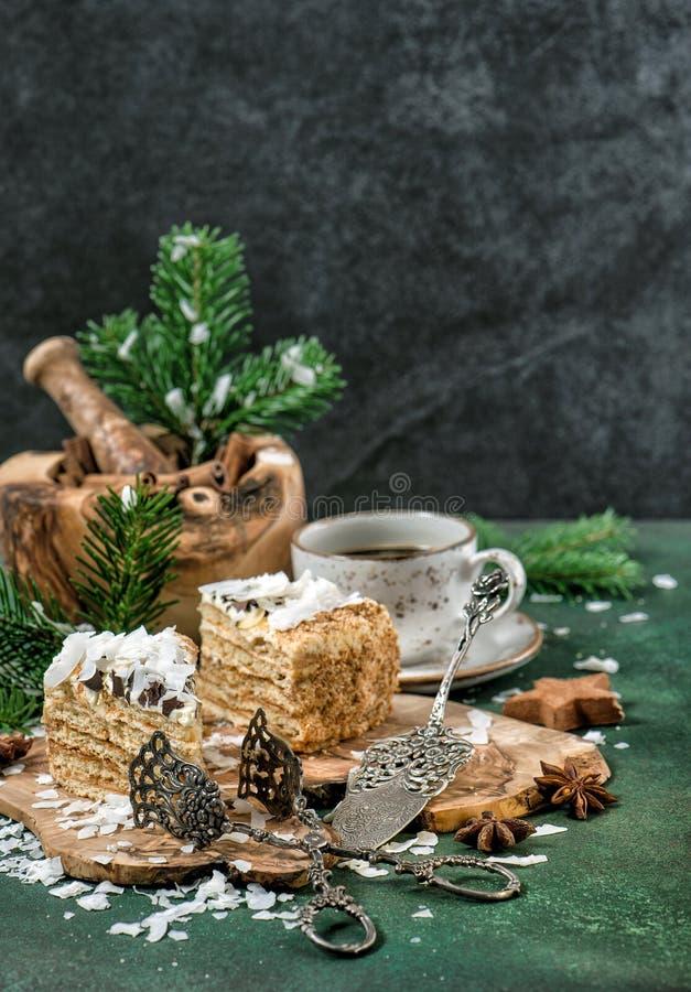 Honey cake Christmas decoration sweet food vintage stock photo
